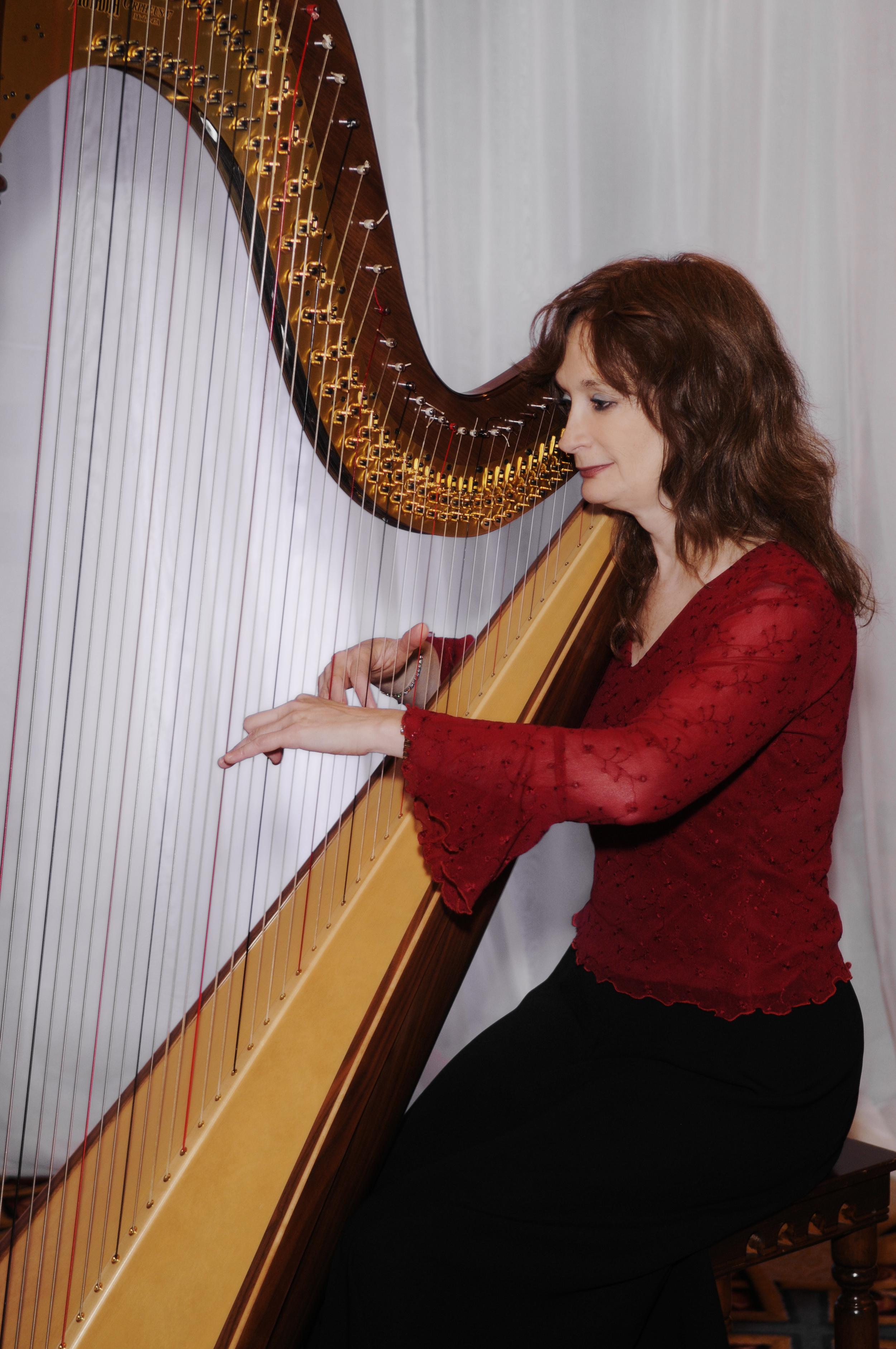 Erica Schultz at the harp