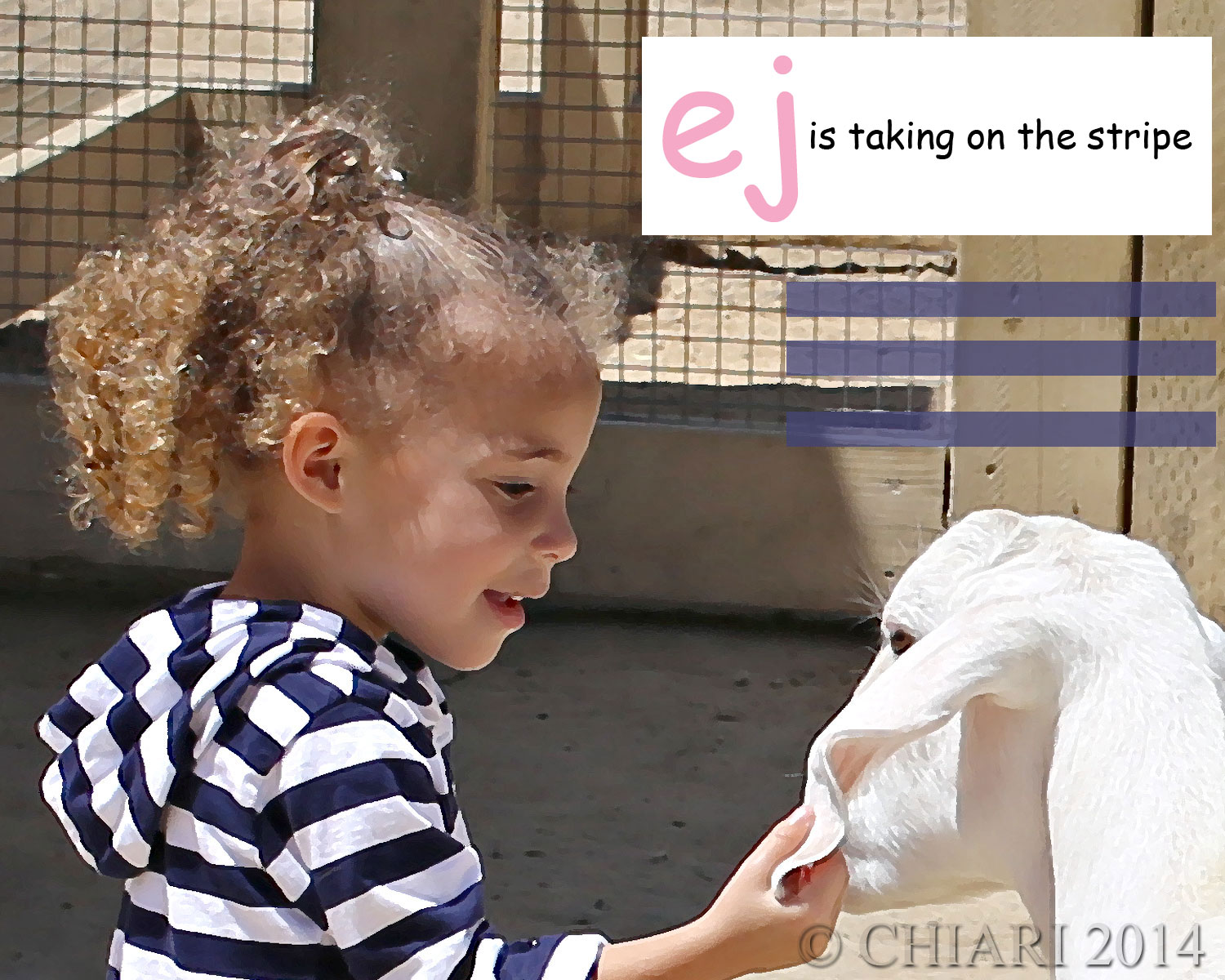 This is not an alpaca. ej also loves goats and little pot belly pigs. Look for their learning tee trend soon.