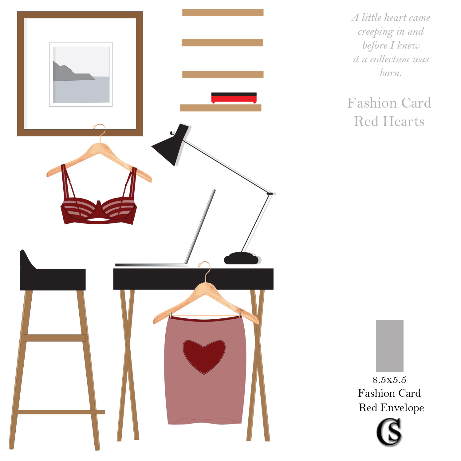 Just Fashion Greeting Card in Red