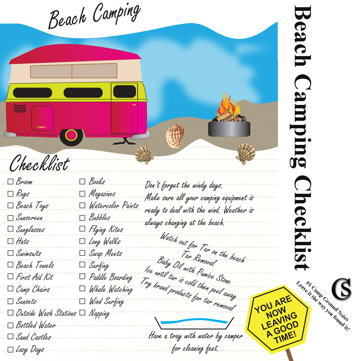 Beach Camping Notes Campground Journal CHIARIstyle