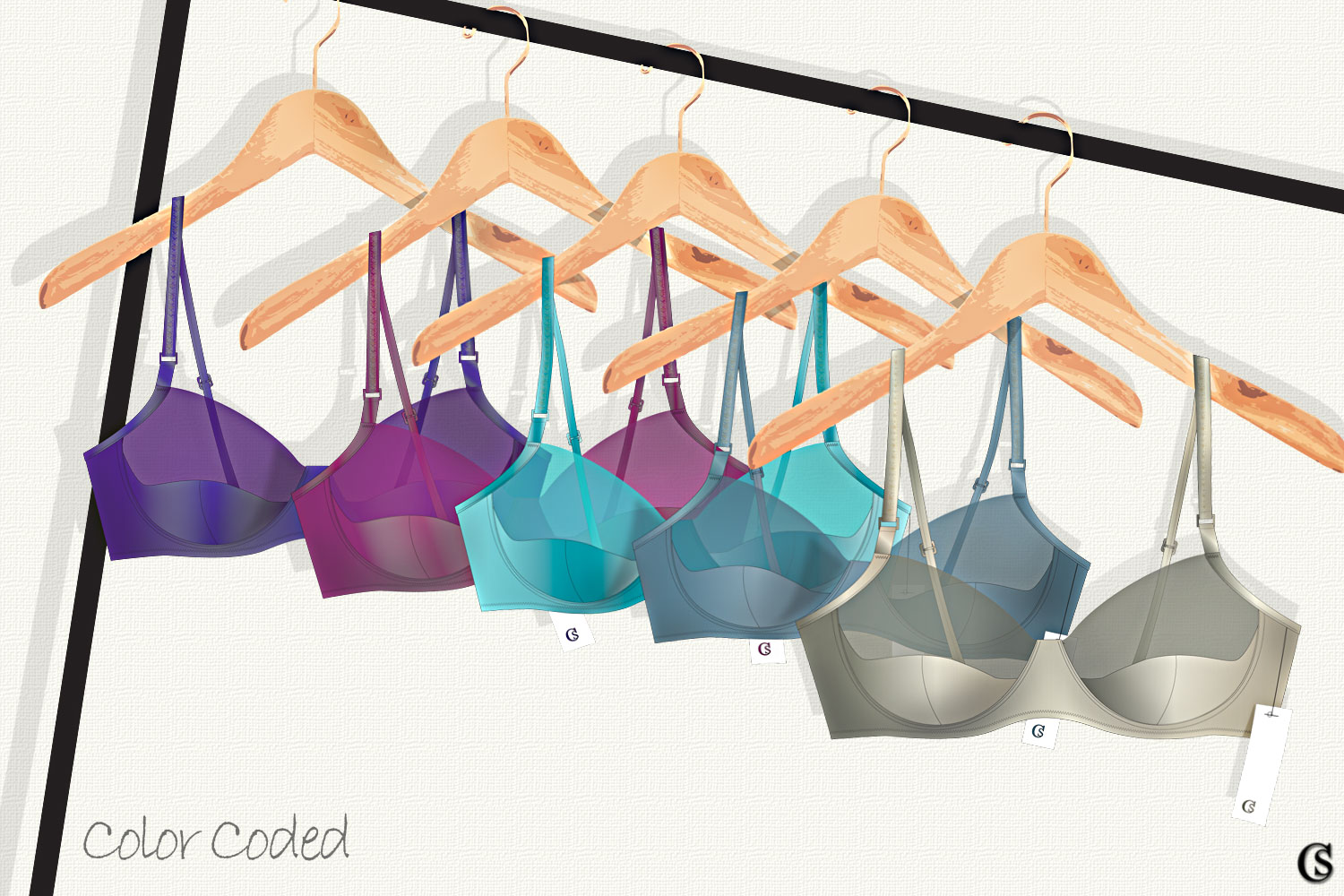Color Coded lingerie illustrations, CHIARIstyle