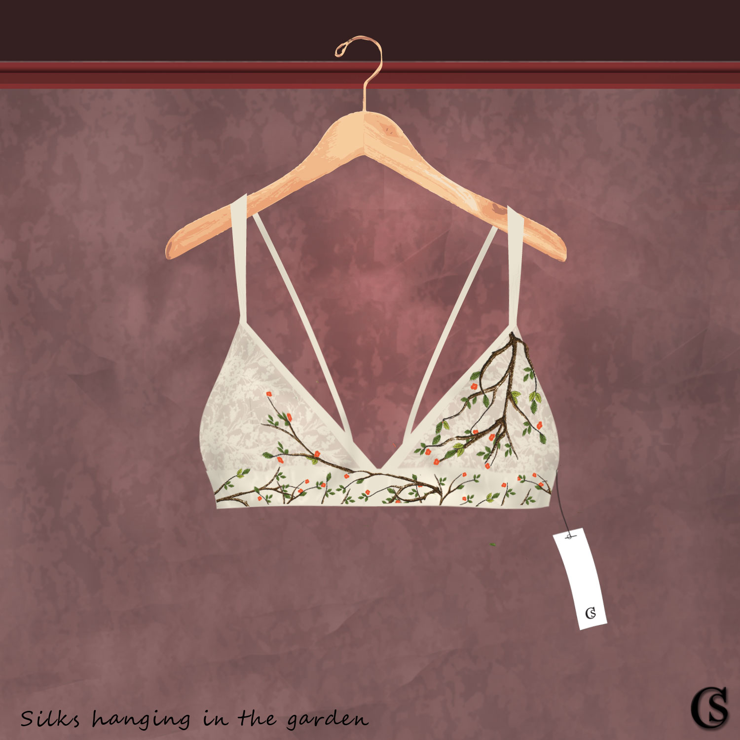 Silk bra concept hanging in the garden, CHIARIstyle