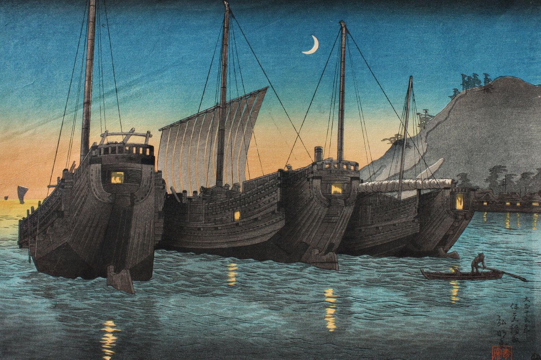 junks-in-inatori-bay,-izu-by-shotei-takahashi-1871-1945-chiaristyle.jpg