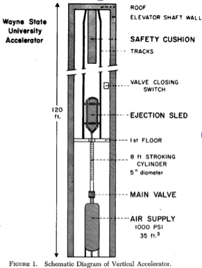 The Wayne State Accelerator was an elevator shaft with the elevator removed. Researchers could use pneumatic forces to shoot bodies up the shaft or simply drop human cadavers and living and dead non-human animals down it.