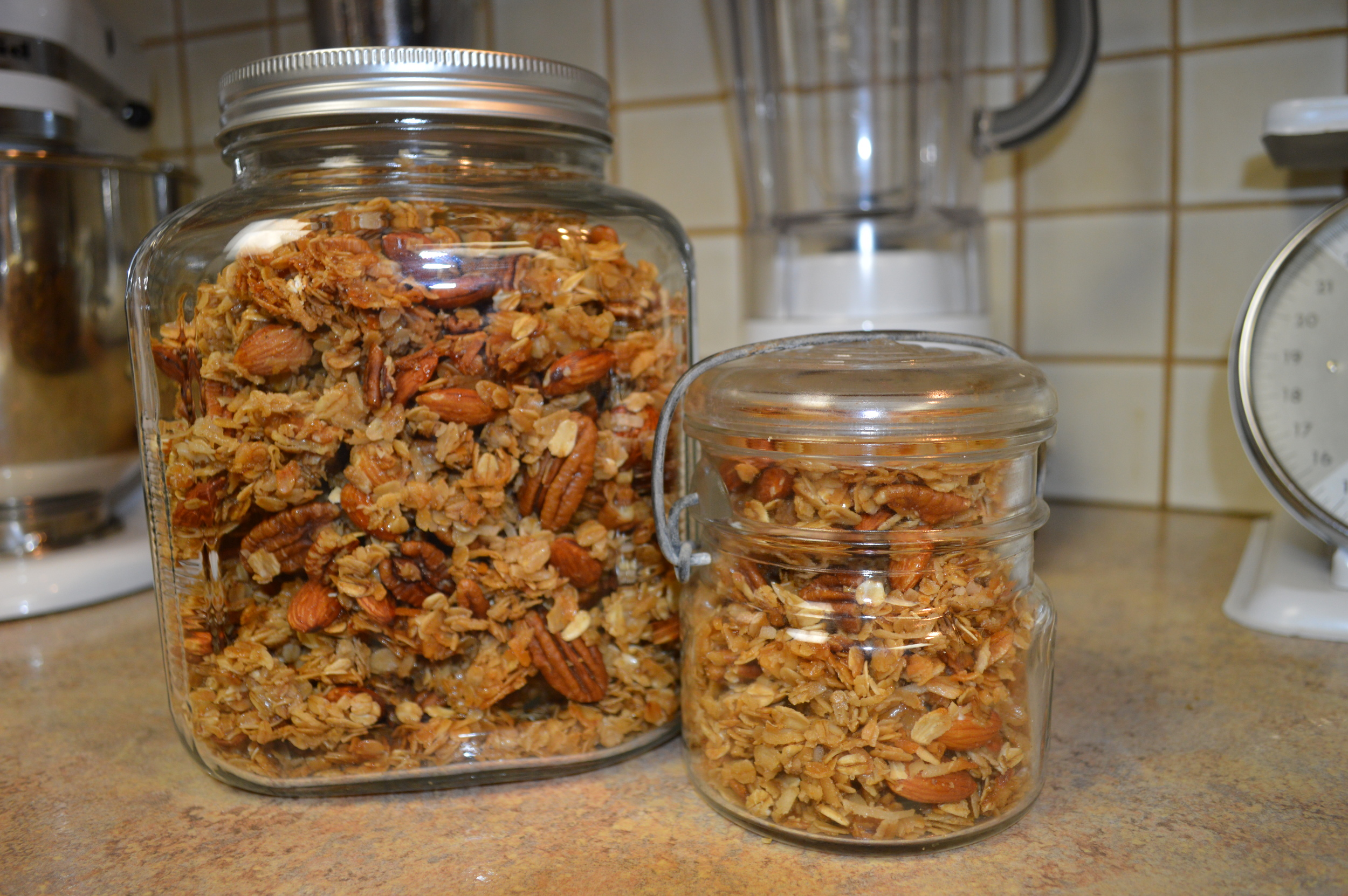 Granola in a jar...ready for guests.