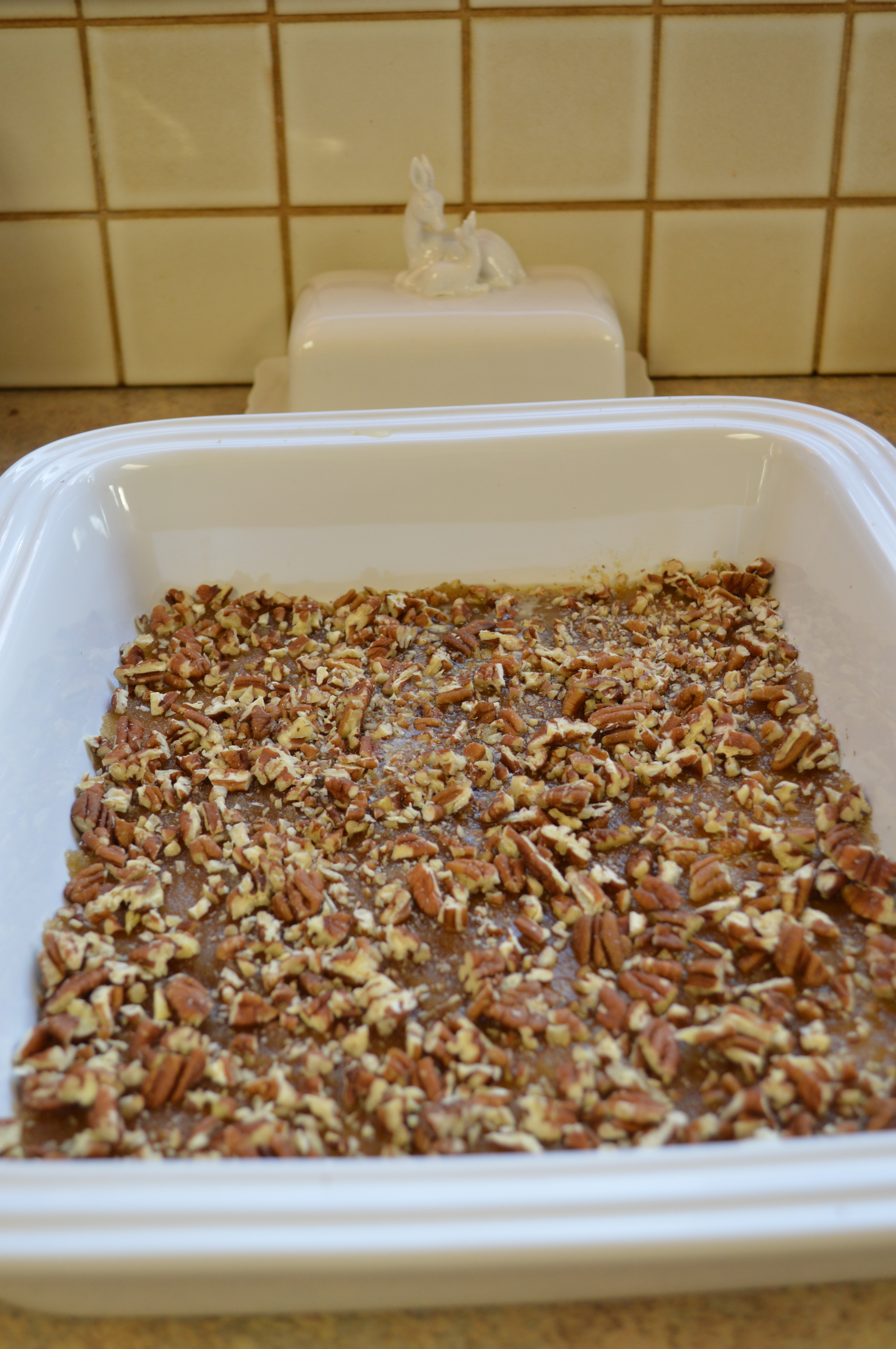 Melted butter, brown sugar, and chopped pecans