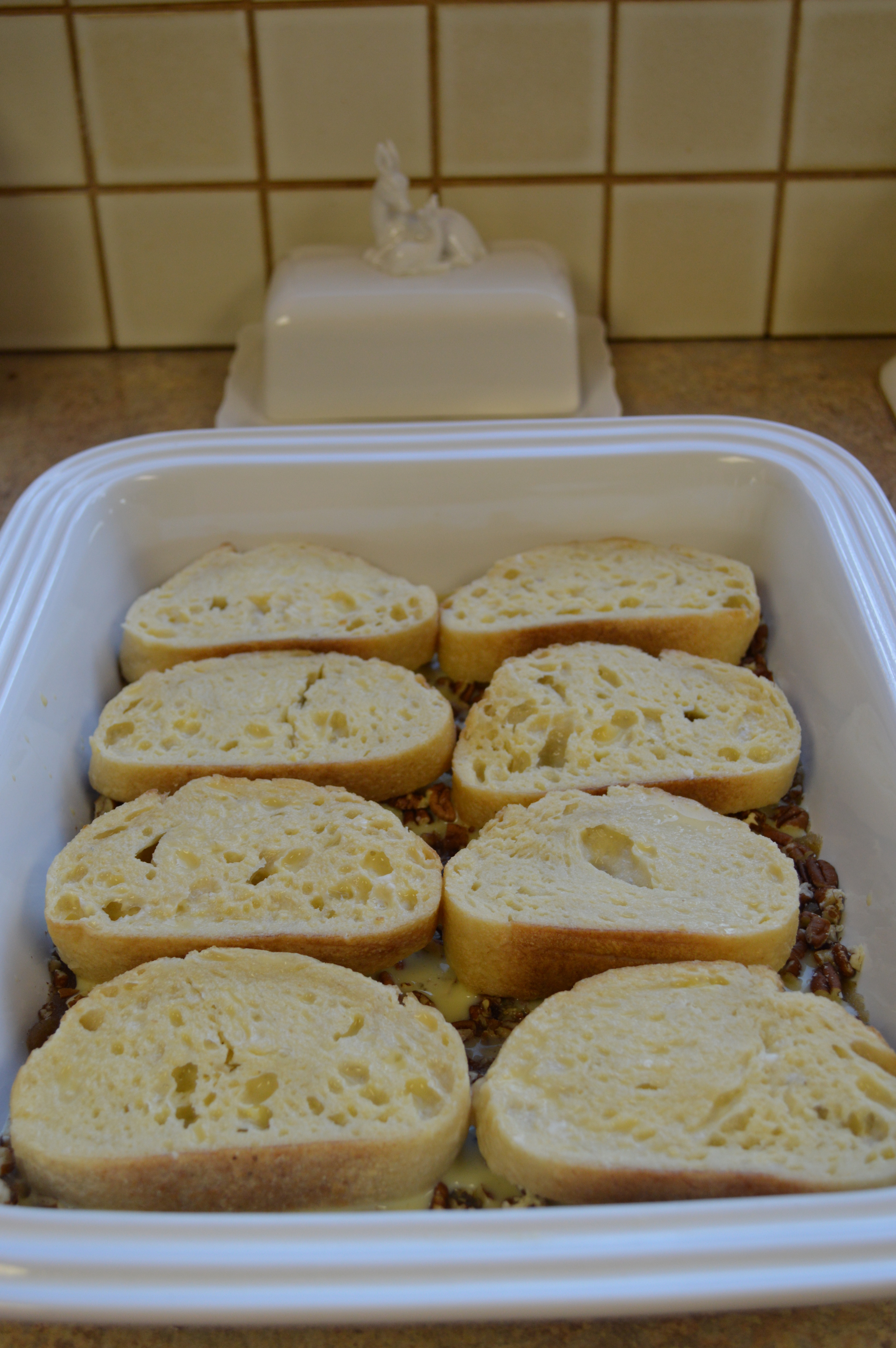Dipped bread ready to go in refrigerator...