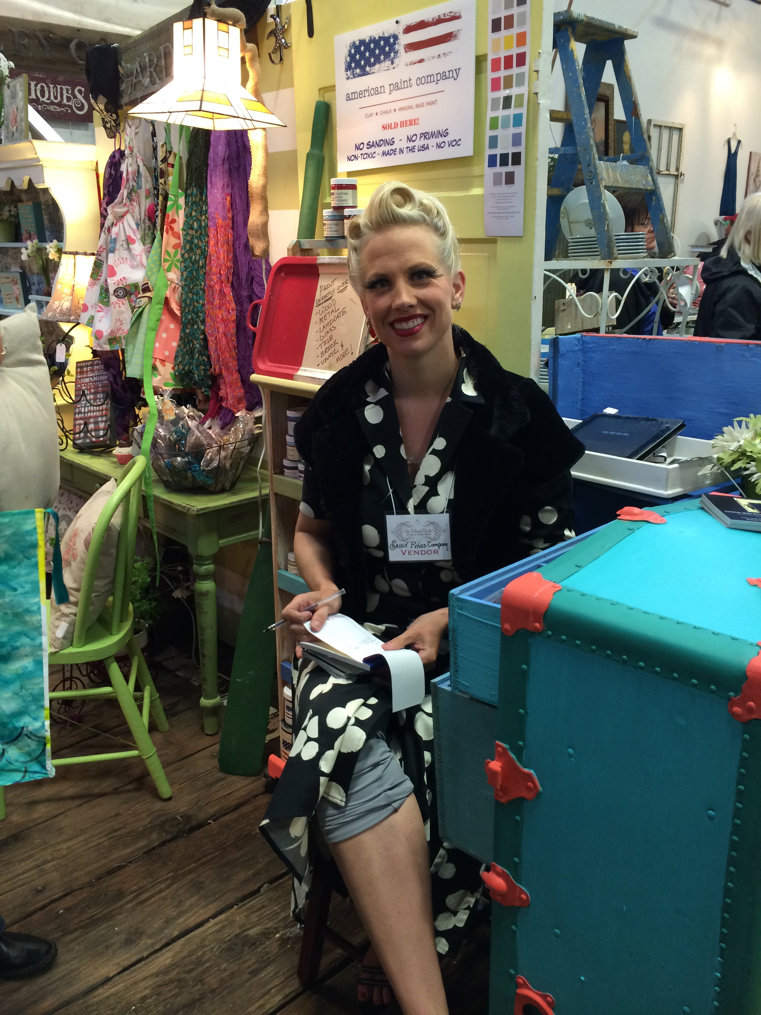 Darling vendor from  Sassy Frass , located in Anacortes...love the pincurls in her hair!