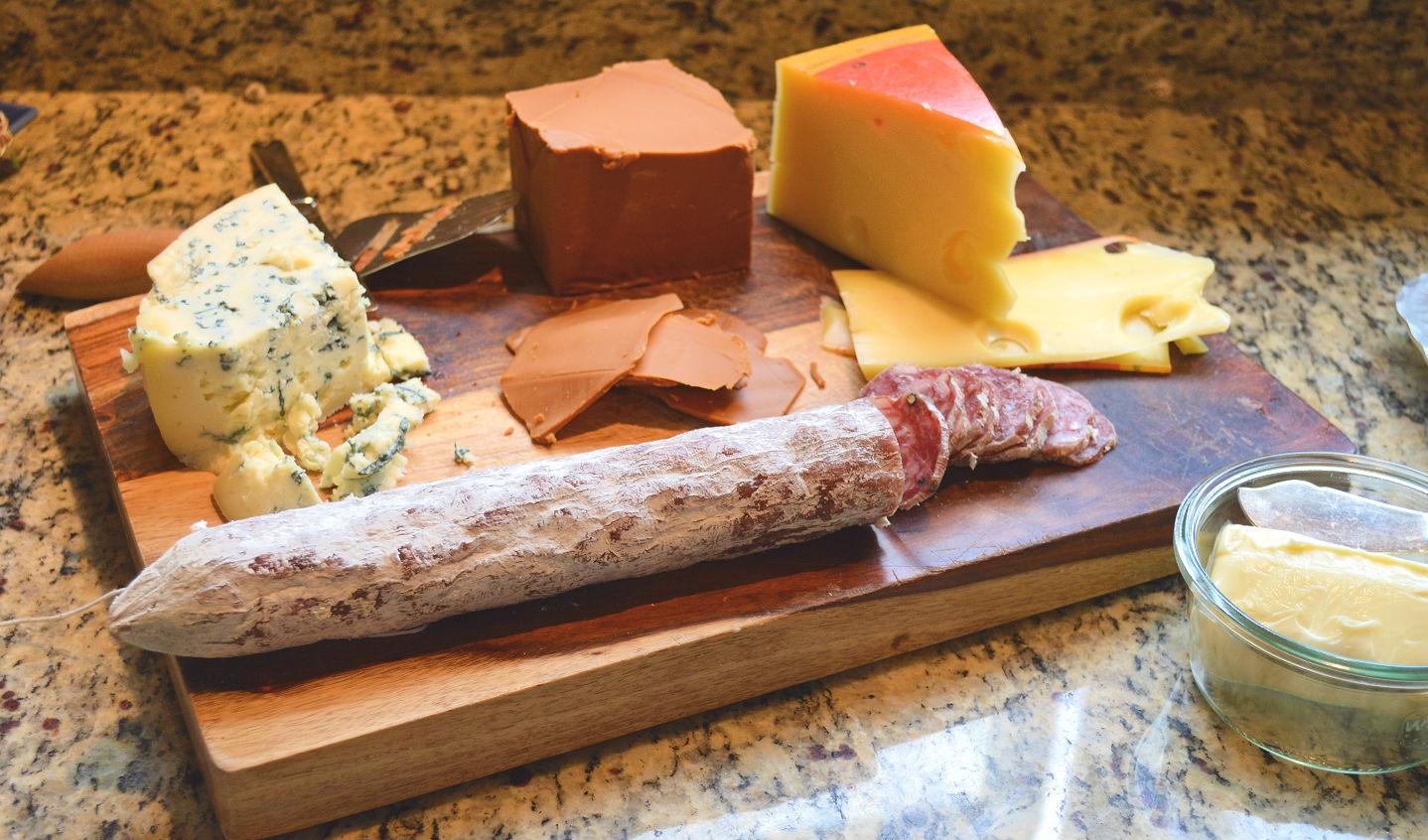 Bleu, Gjetost, and Jarlsberg cheeses, with Sausage Soppressata