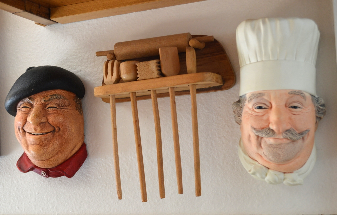 Bosson heads from England...Pierre and the Chef. The miniature baking tools were a birthday gift when I was 4!