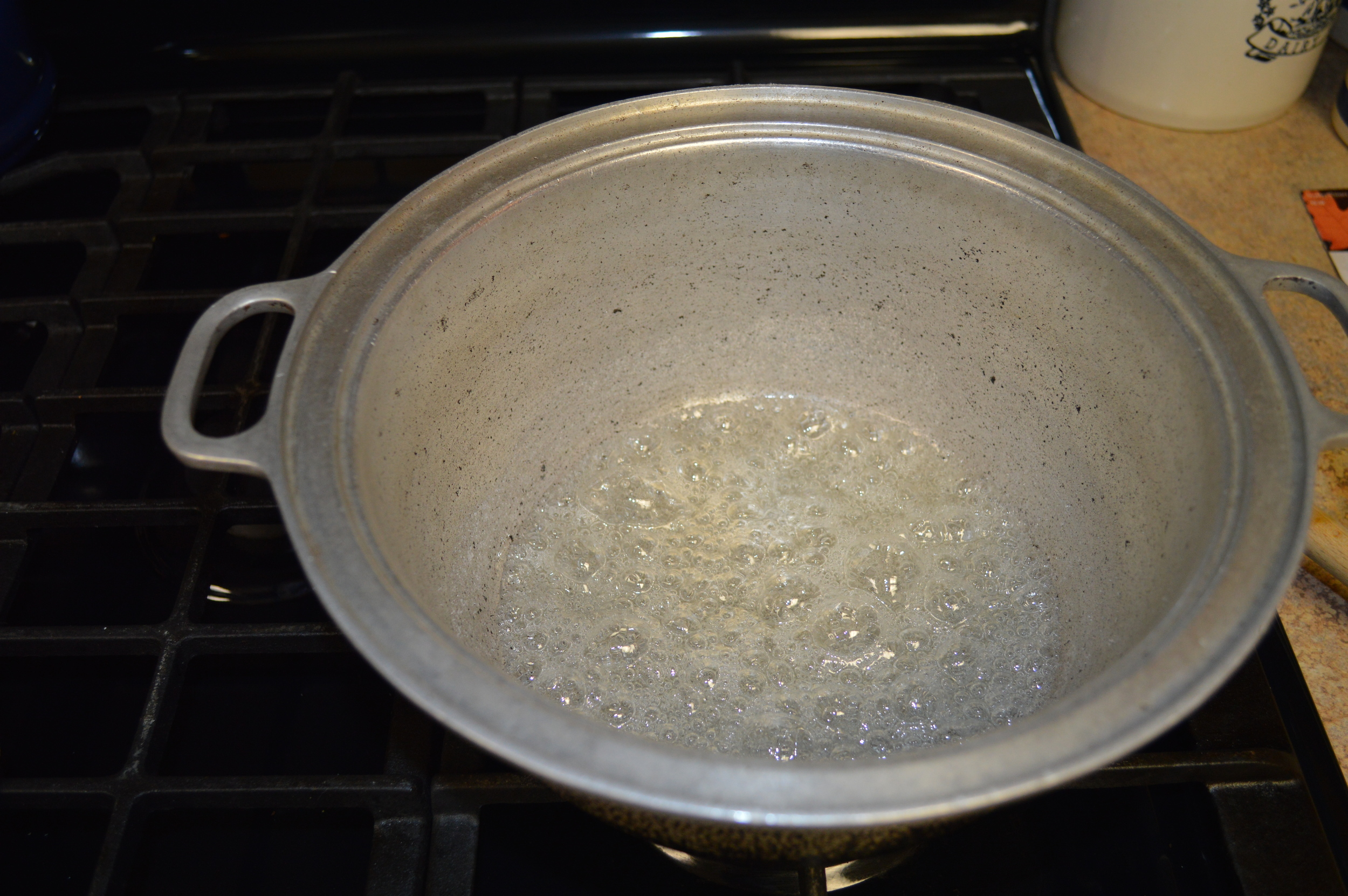 Sugar and water, just beginning to caramelize...