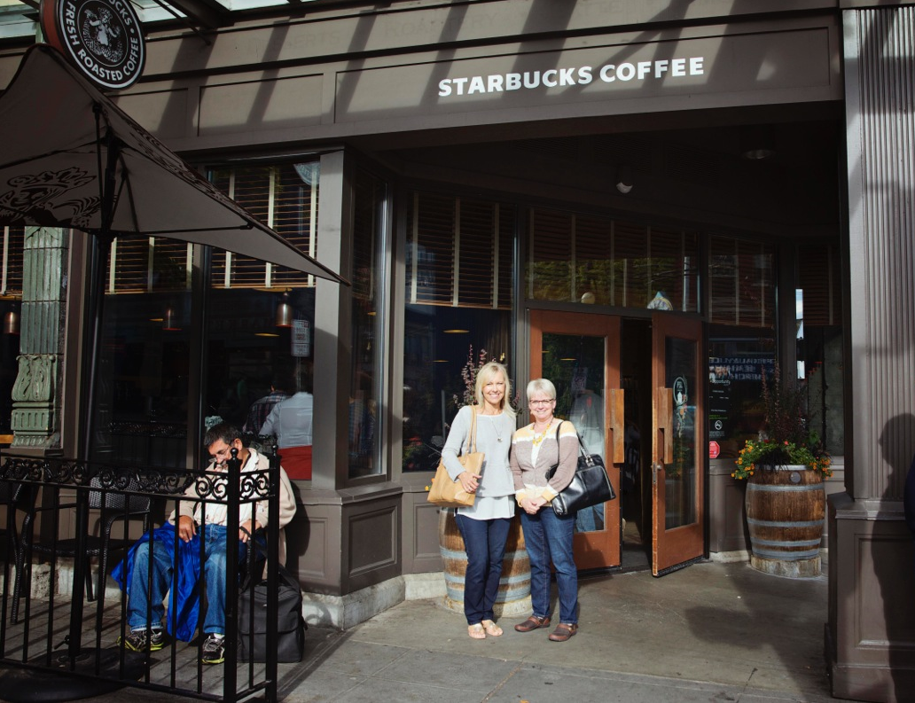 Me and Barb at the original Starbucks in Seattle...
