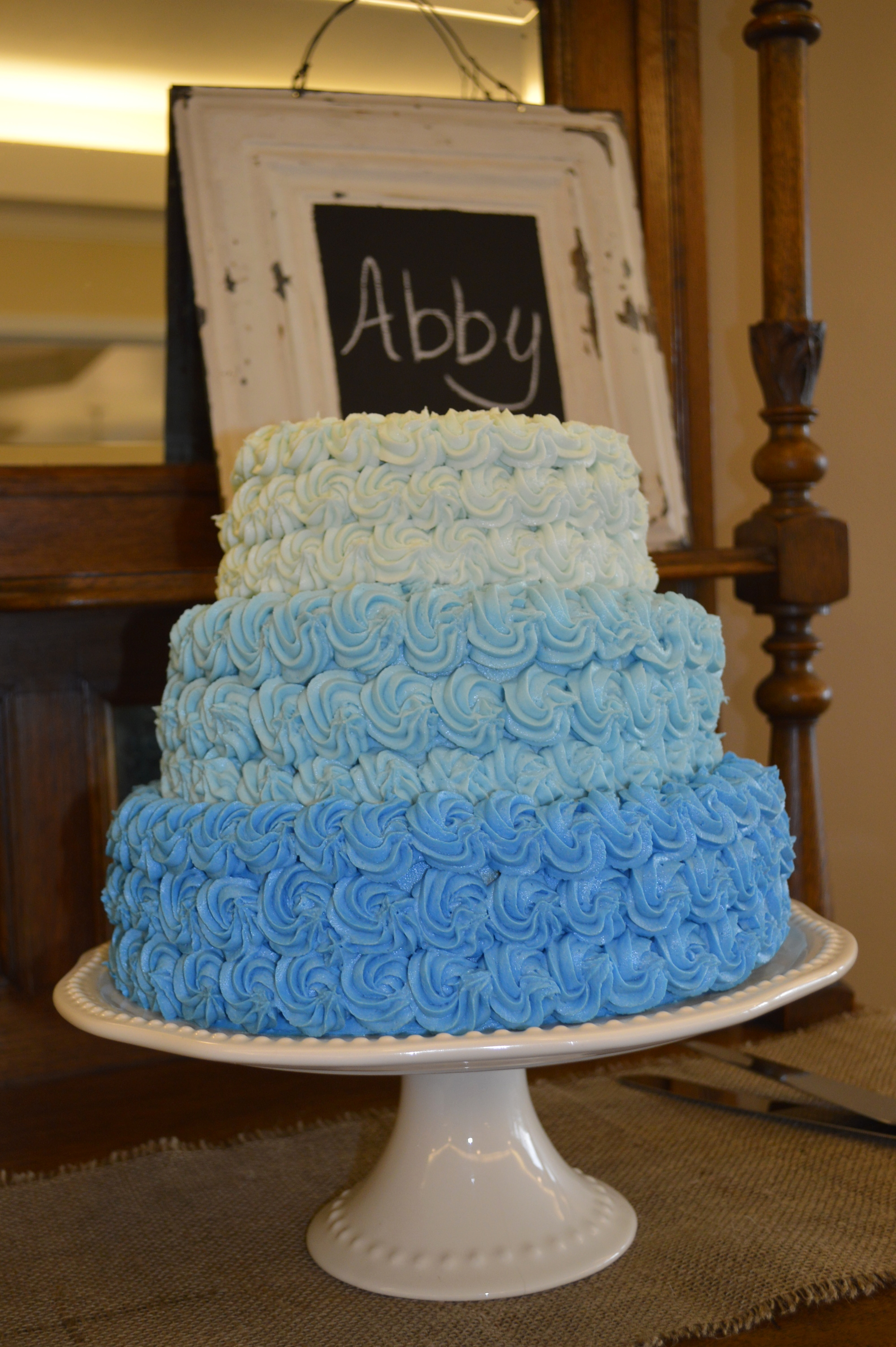 Shower cake in shades of blue...the wedding colors!