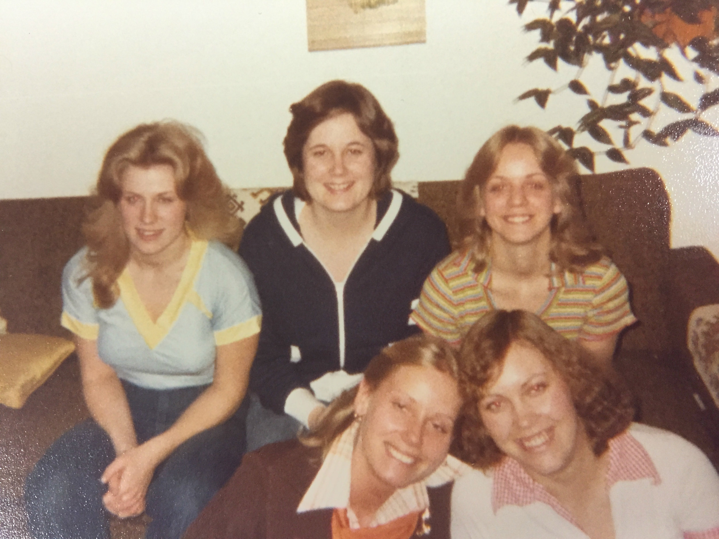 Cheryl, Cindy, Barb (back row), Sheila (a friend) and Gracia (a little chubby and a bad perm!)