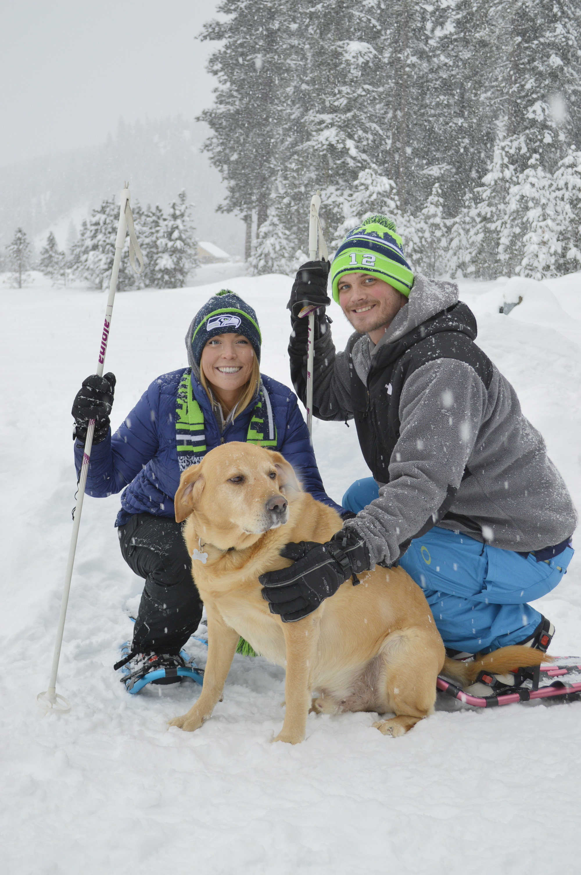 Jessica, Dane, (and Oakley) trying out the snow shoes...