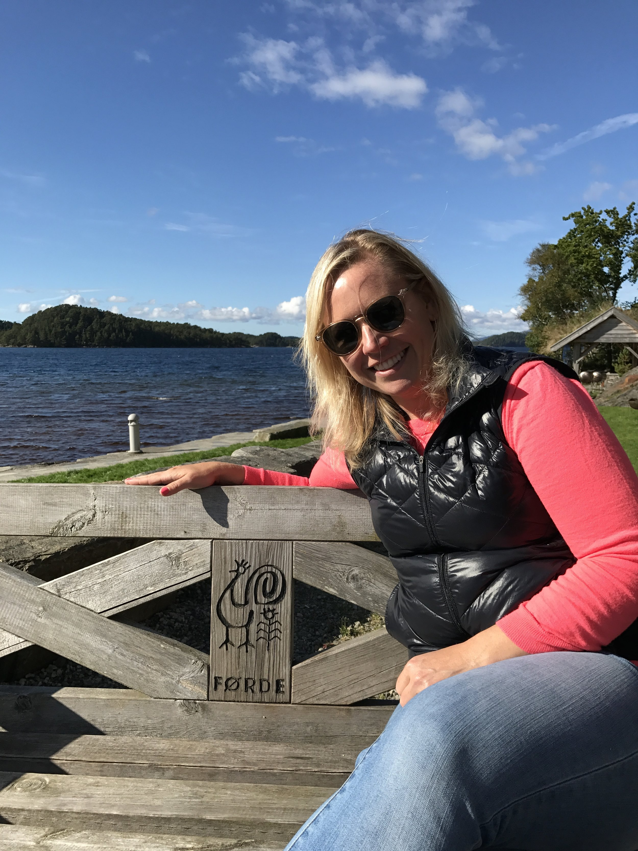 Rachel Forde, by her bench!