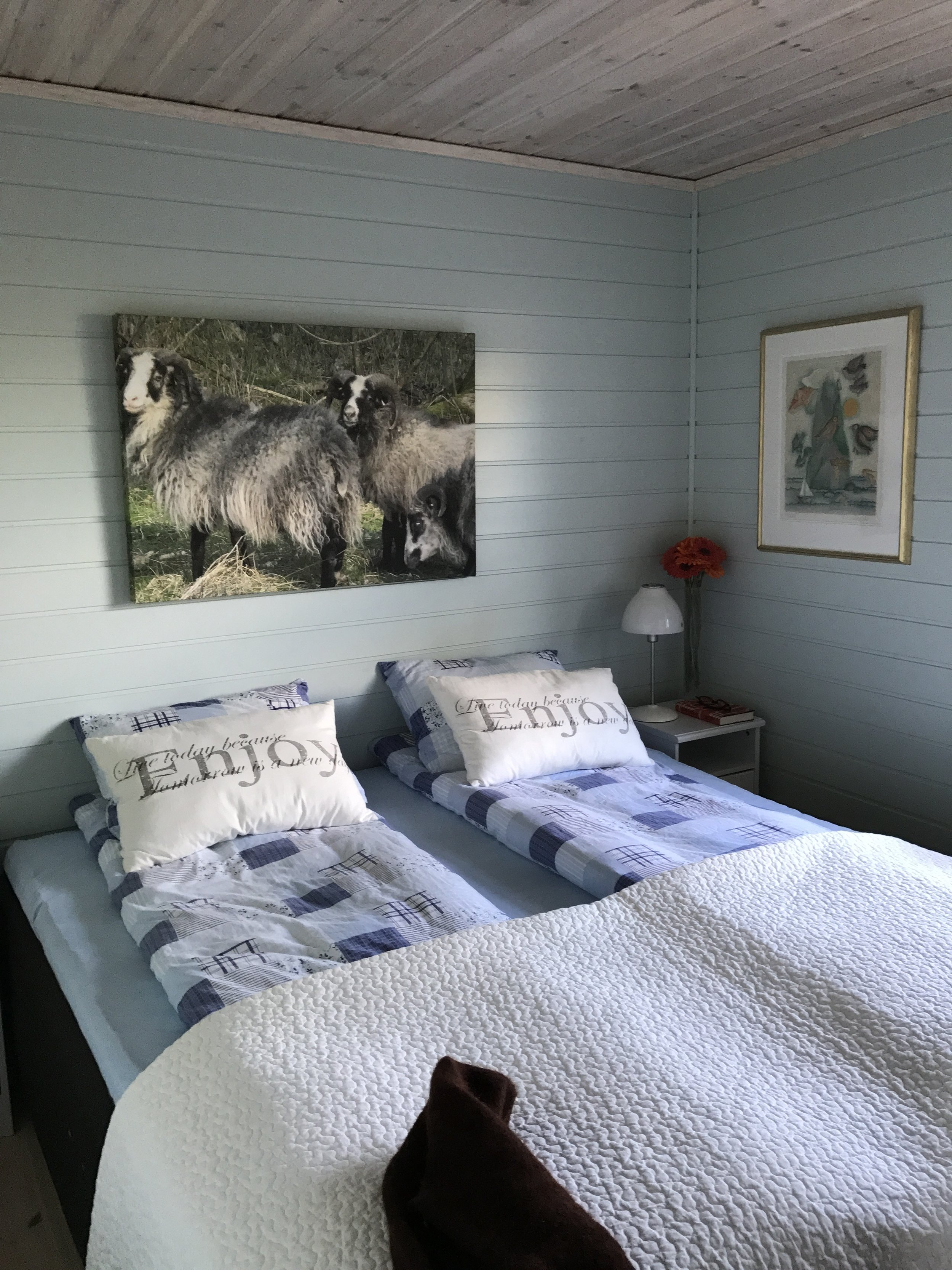 Our hosts' room...the artwork depicts the sheep you see roaming over the hillsides in Norway.