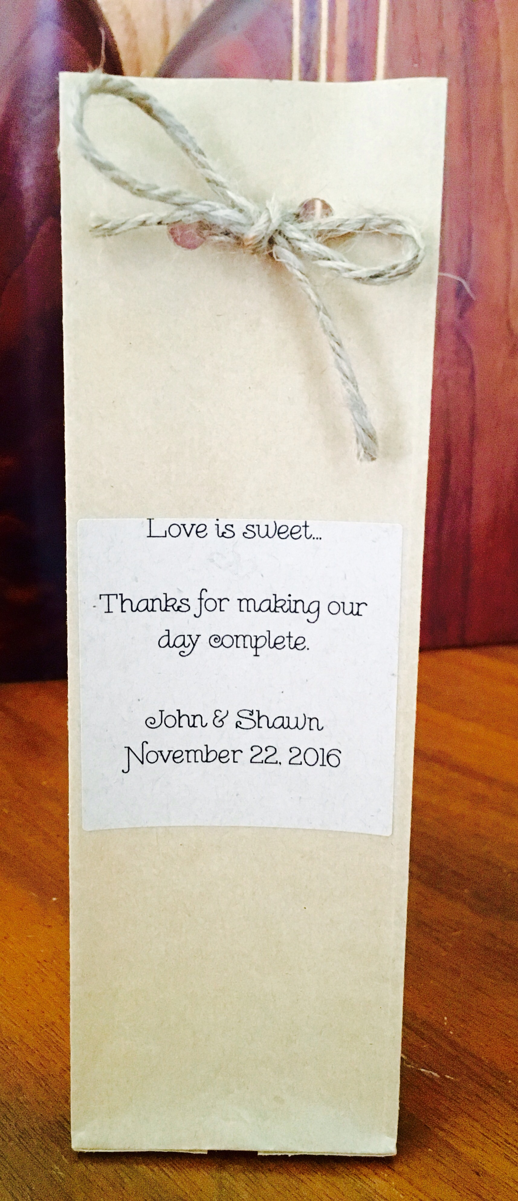 Example of our favors with salted caramels