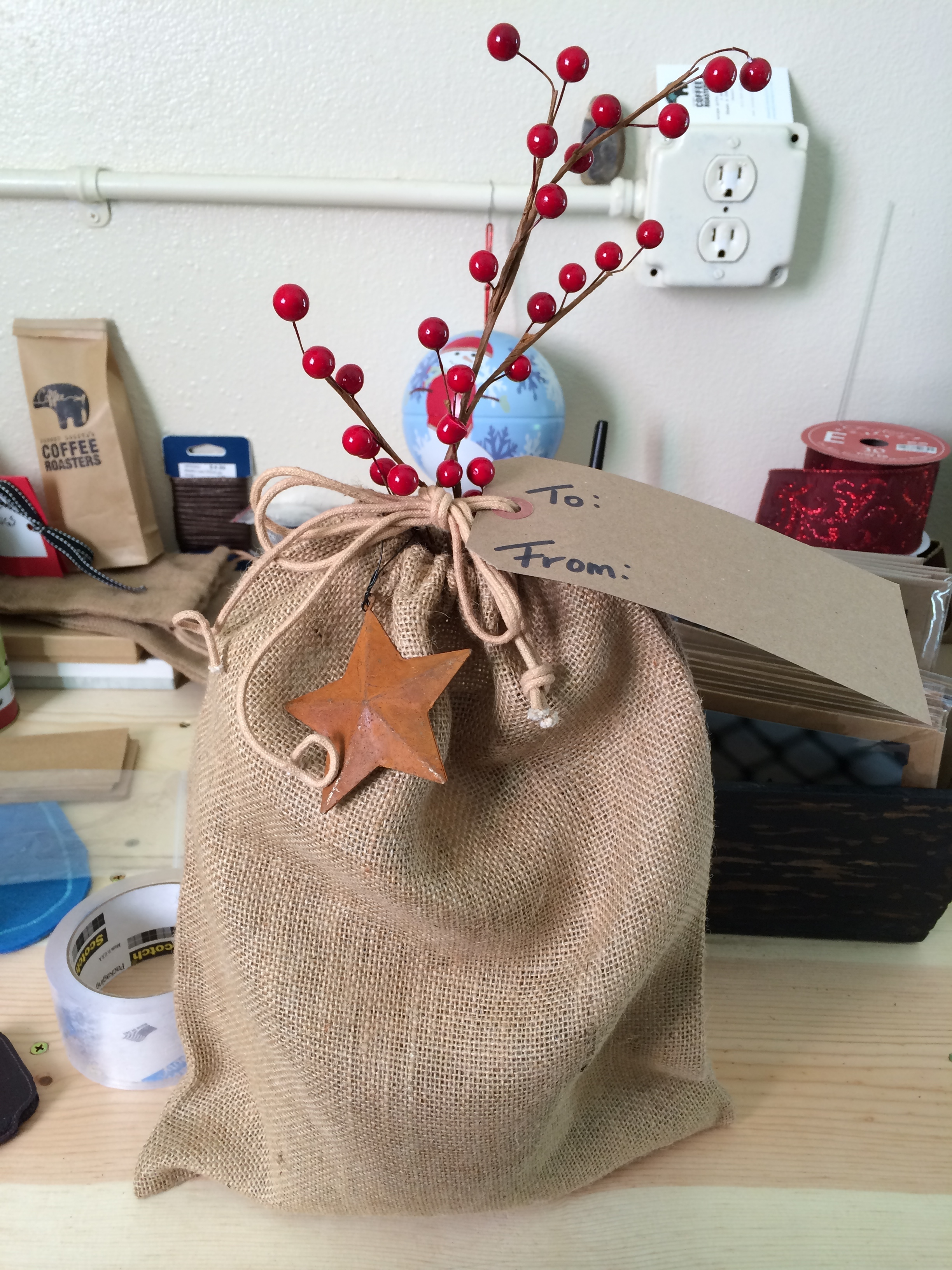 Holiday touch for coffee in burlap sack for customers