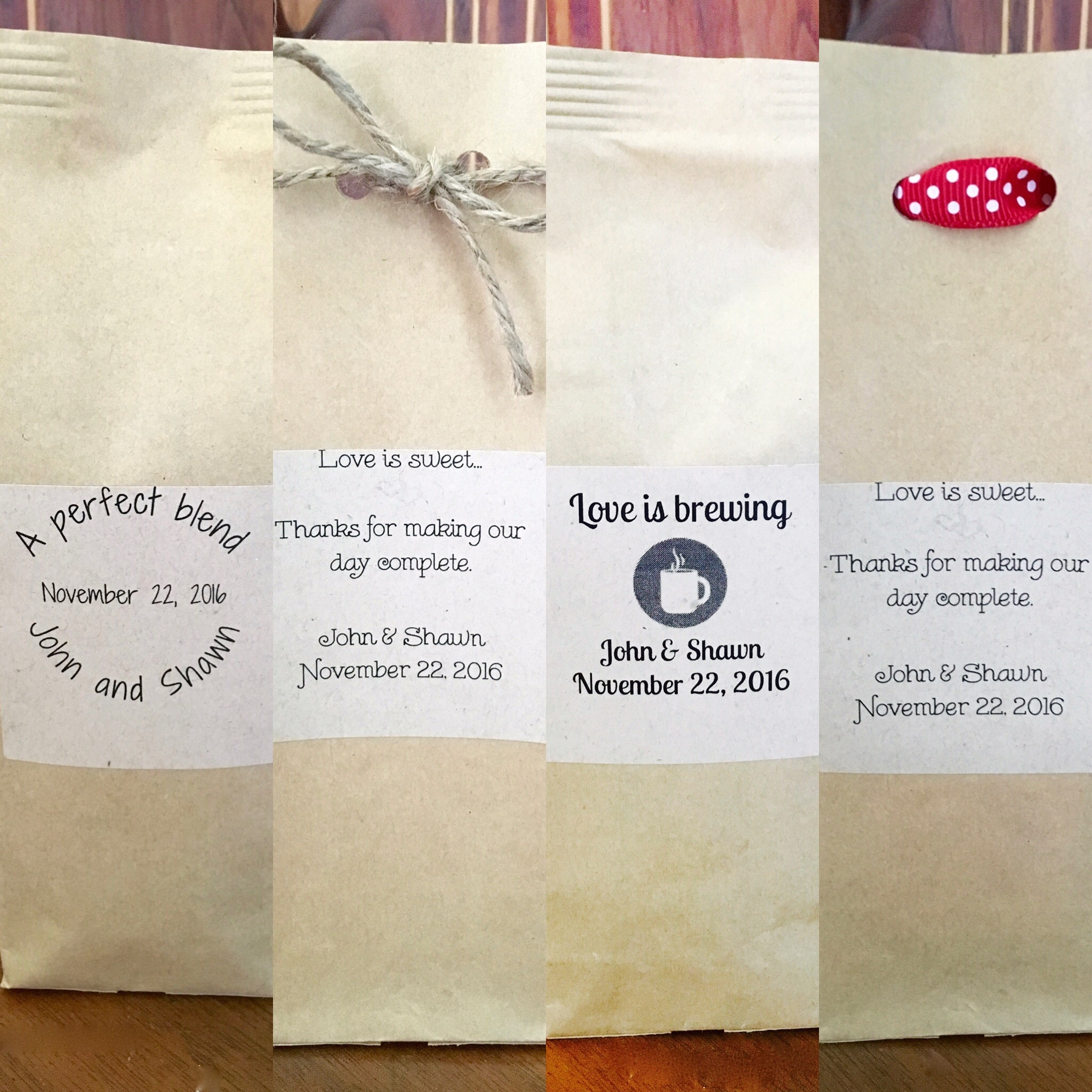 Sample of mini coffee bags
