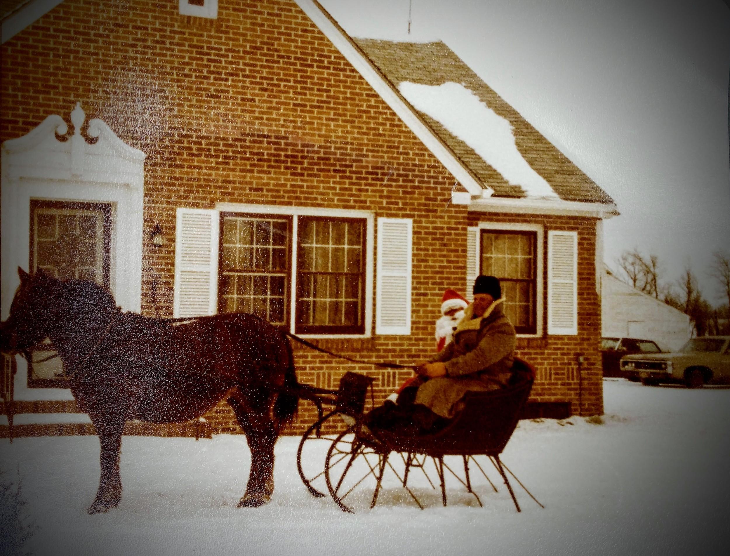 Jim and Santa when Santa's sleigh broke down.