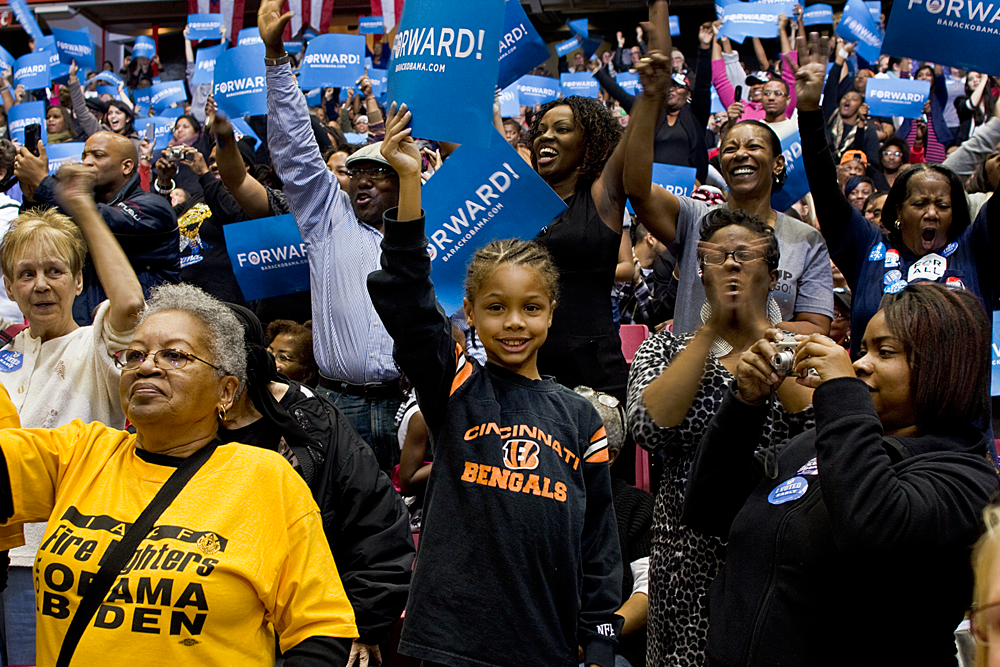 A young boy, excited to see the incumbent president.     Cincinnati, OH 2012