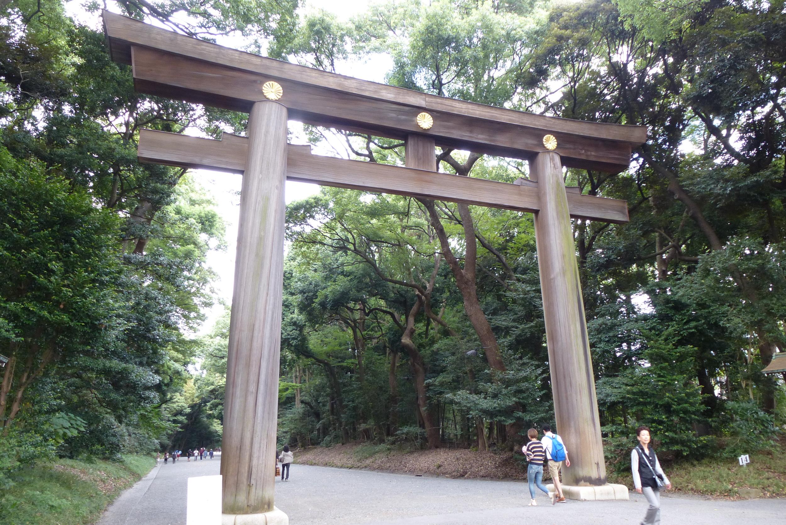 Torii gate to Meiji Shrine
