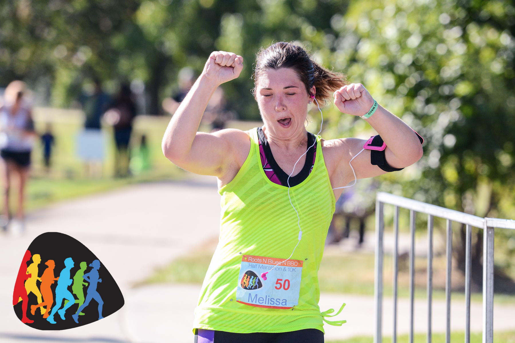 Crazy sister dancing across the finish line!