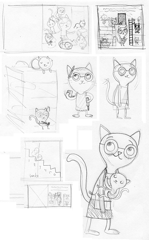 A mish-mash of rough character sketches and thumbnails of page layouts.
