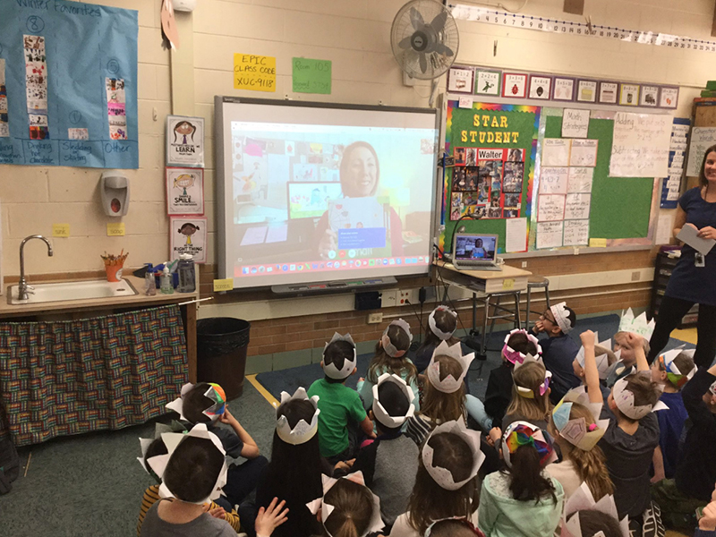 Downer's Grove, Illinois Elementary: They had all read  SMALL  before and gave me a big cheer for reading it again. Love the crown they made to celebrate the day, too!