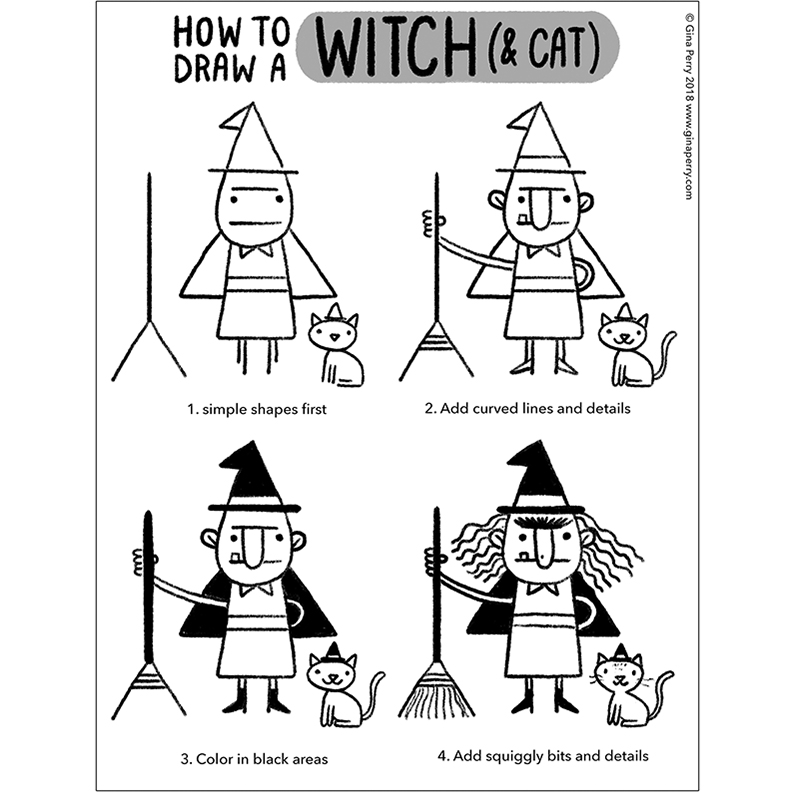 HOW-TO-DRAW: Witch & Cat