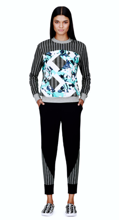 Sweatshirt in light blue floral/check print, $29.99  Pant in black/check print, $34.99  Slip-on shoe in black/white print, $29.99