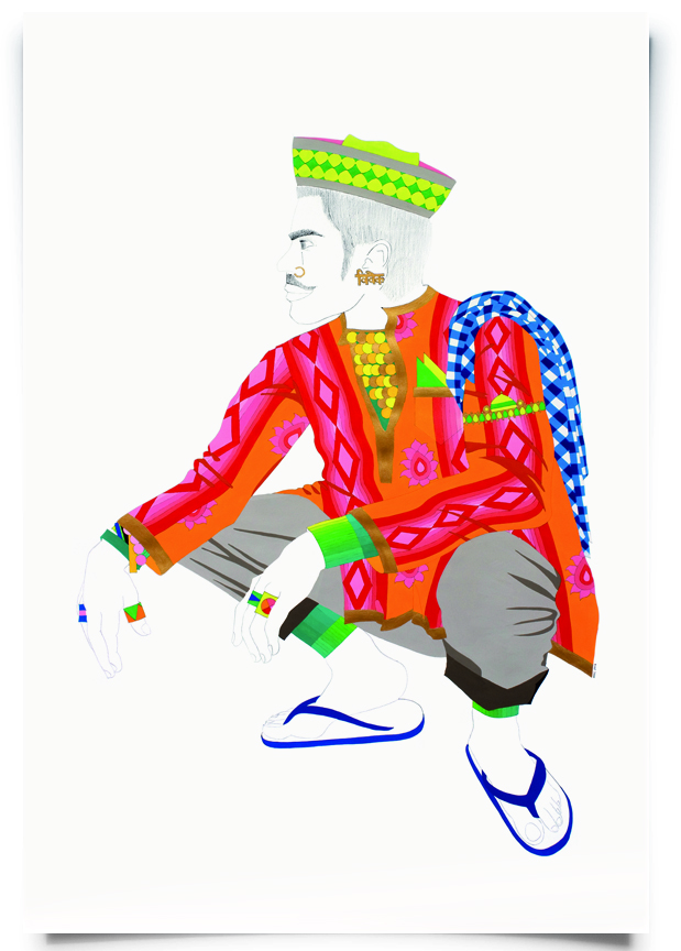 2012. Vivek ( Firangi Rang Barangi  series) Acrylic and pencil on paper 38 in. x 56 in.   Wearing a Nehru cap and bold kurta, Vivek flexes an opulent but casual look with rolled up trousers and blue Bata chappals.   Private Collection