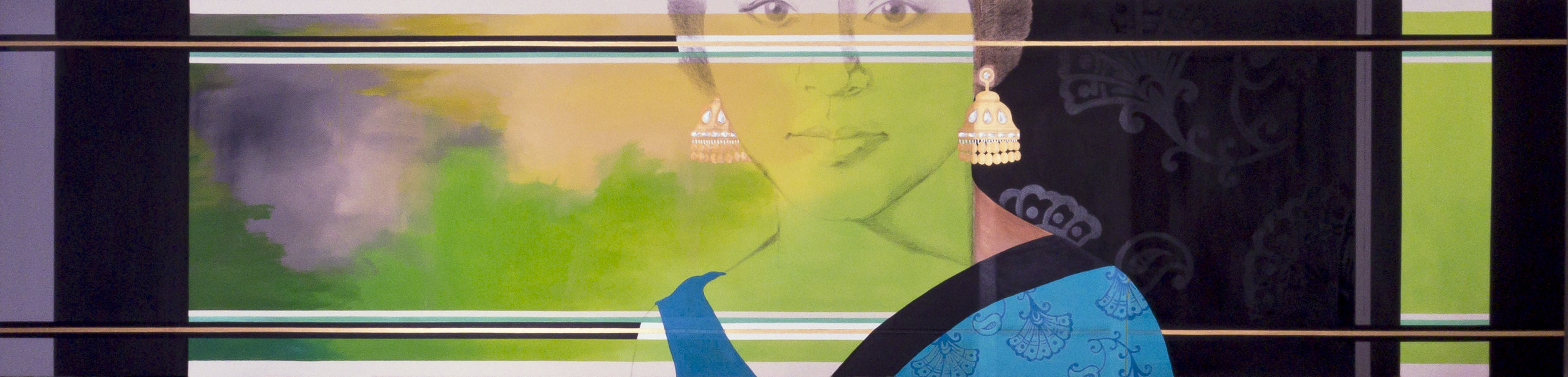2011. Indu (Sariscape series)   Acrylic, charcoal and fabric on canvas, 180 in. x 44 in.