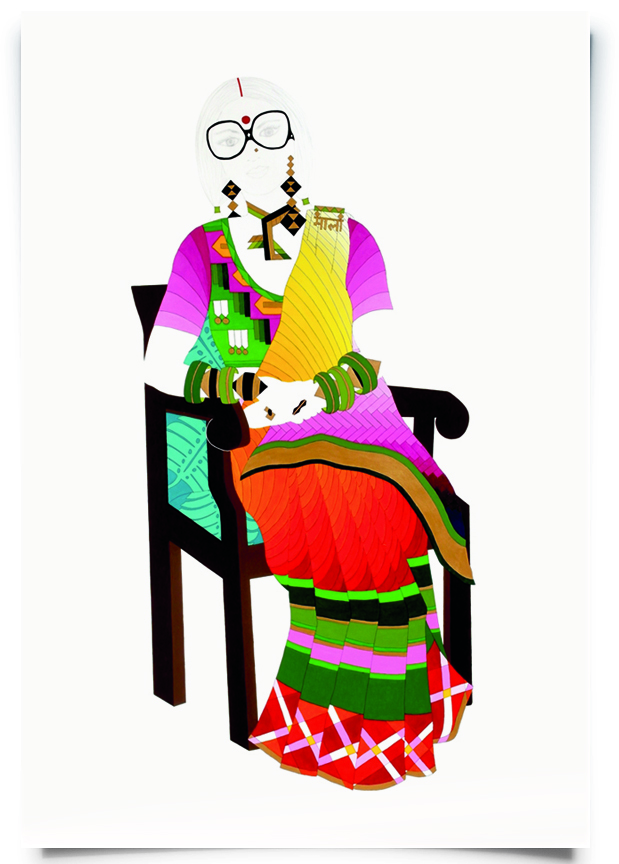2010. Mala   (  Firangi Rang Barangi   series)   Acrylic, ink and pencil on paper   38 in. x 59 in.    Translating the style statement of a decorated General in the army, Mala mixes patterns and colours across her blouse and sari worn in the classic back-to-front Gujarati style. Her sophisticated look is bolstered by thick-framed vintage frames from the 70s, a large deep red bindi and sindoor.   Private Collection