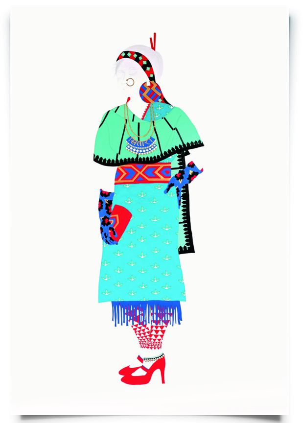 2010. Sitara   (  Firangi Rang Barangi   series)   Acrylic, ink and pencil on paper.   35 in. x 59 in.    Sitara expresses a love for shades of blue with a classic Mughal-inspired shawl, floral evening gloves and a belted kurta layered with a fringe. Her fire red heels and single payal pull the outfit together.   Private Collection
