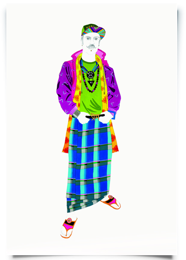 2012. Prem   (  Firangi Rang Barangi   series)   Acrylic and pencil on paper   40 in. x 67 in.    A fearless combination of madras check lungi topped with a zippered hoodie, Prem knows he doesn't need to give up his chappals and dupatta to wear a fitted cap.   Private Collection