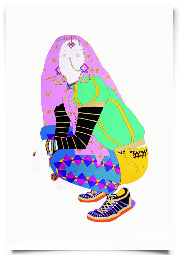 2010. Shabana   (  Firangi Rang Barangi   series)   Acrylic, ink and pencil on paper   28 in. x 43 in.    Shabana rocks hybrid streetwear with geometric tights layered under canary  hot pants. She protects herself with a soft pink floral chunni over her head, recalling her maternal ancestors.   Private Collection