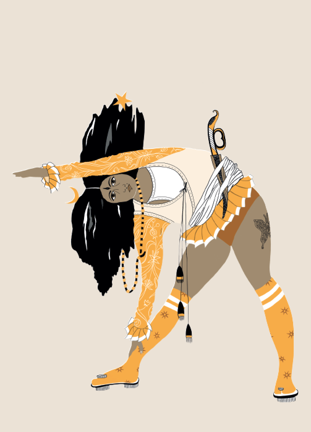 2019. Trikon ā sana (Triangle Pose) Digital print on paper 5 in. x 7 in.  Practiced wearing a shortened jama over dance leotards, knee-high tabis paired with padukas and a tucked-away inlayed dagger.   Purchase