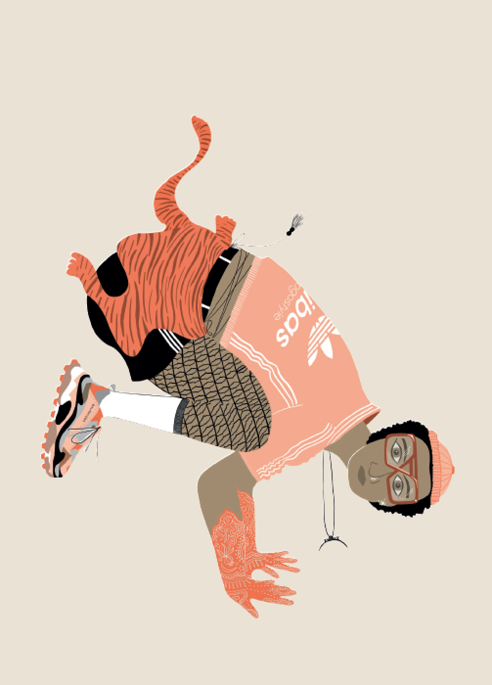 2019. Bak ā sana (Crane Pose) Digital print on paper 5 in. x 7 in.  Practiced wearing a bootlegged Adibas zip-up with coordinating Balancioga sneakers paired with white sport socks over Mughal fishnets, hand-embroidered mehndi gloves and a tigerskin wrap for ancestral protection.   Purchase