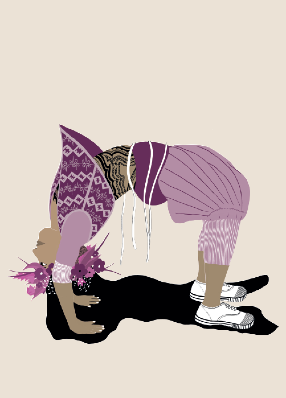 2019. Chakr ā sana (Wheel Pose) Digital print on paper 5 in. x 7 in.  Practiced wearing a jersey-knit, sport-style sirwal, black lace bodysuit, Bata tennis shoes and a Marsha P. Johnson style floral crown.   Purchase
