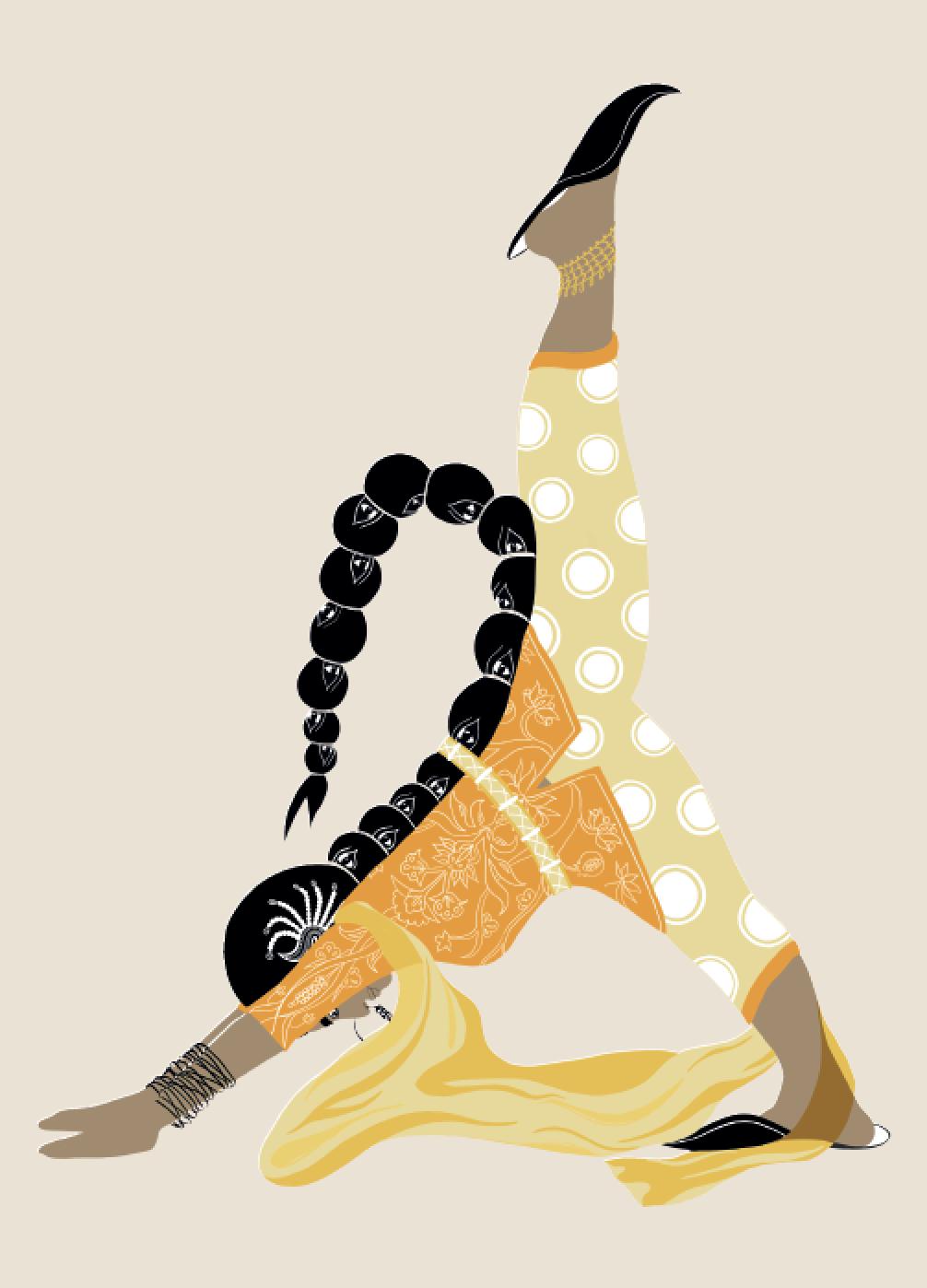 2019. Eka Pada Adho Svan ā sana (Mountain Pose) Digital print on paper 5 in. x 7 in.  Practiced wearing a high-cut kameez with fitted brocade salwar, jadai billai braid jewellery and juttis sharp as knives.   Purchase