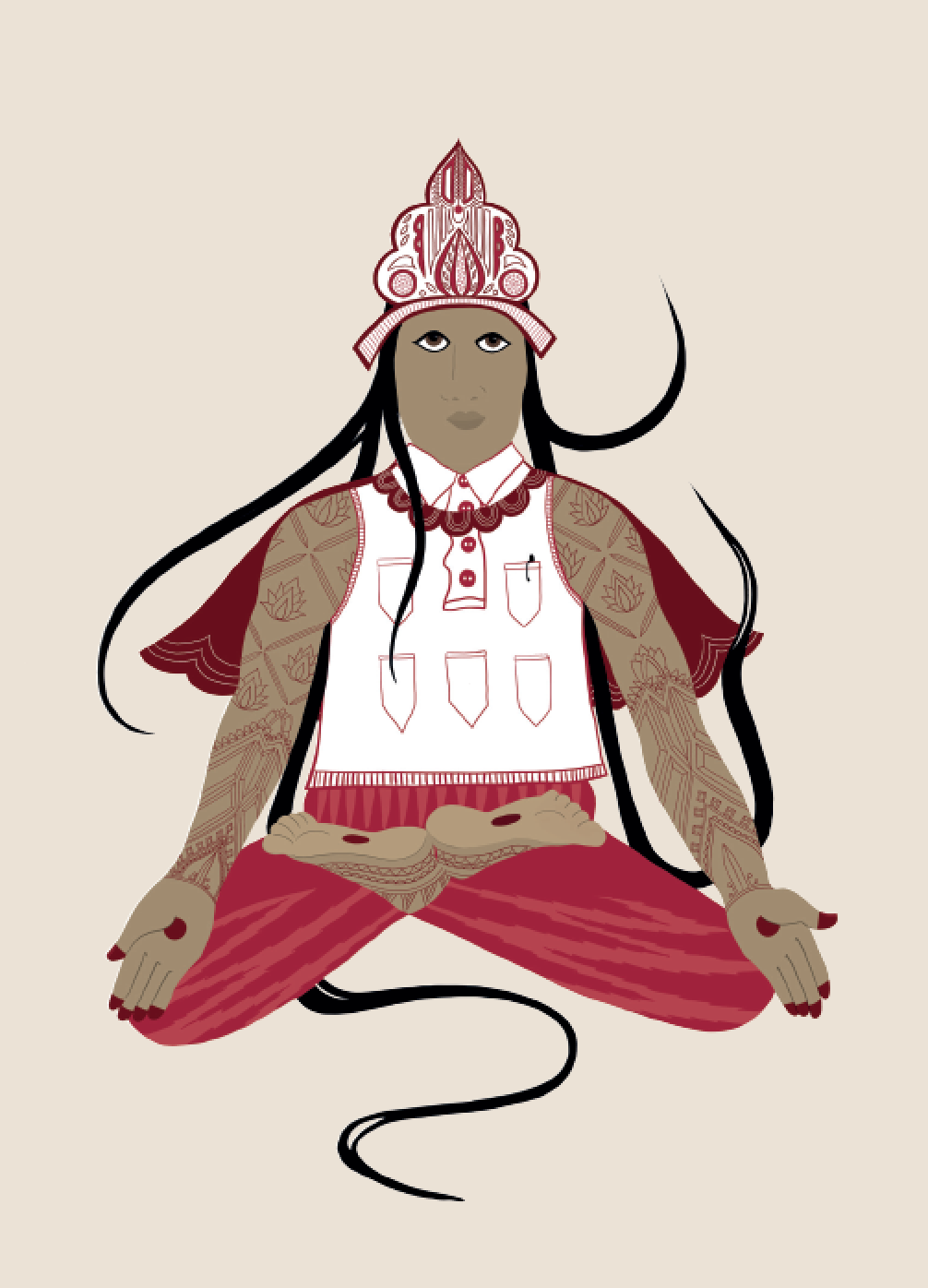 2019. Padm ā sana (Lotus Pose) Digital print on paper 5 in. x 7 in.  Practiced wearing a Tibetan reliquary-style crown, vintage multi-pocket polo tank with digitallyprinted Ikat patterned tights and a superpower, scalloped cape.   Purchase
