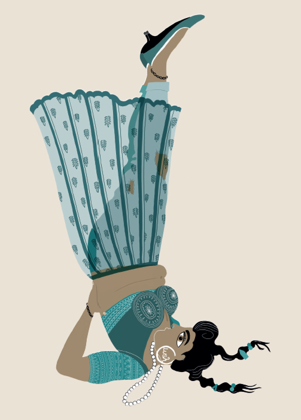 2019. Sarvāṅgāsana (Shoulder Stand) Digital print on paper 5 in. x 7 in.  Practiced wearing a ghagra with booti work worn over old jeans, a tight choli with running-stitch embroidery, kitten heels, and Femmeboyant design earrings.   Purchase