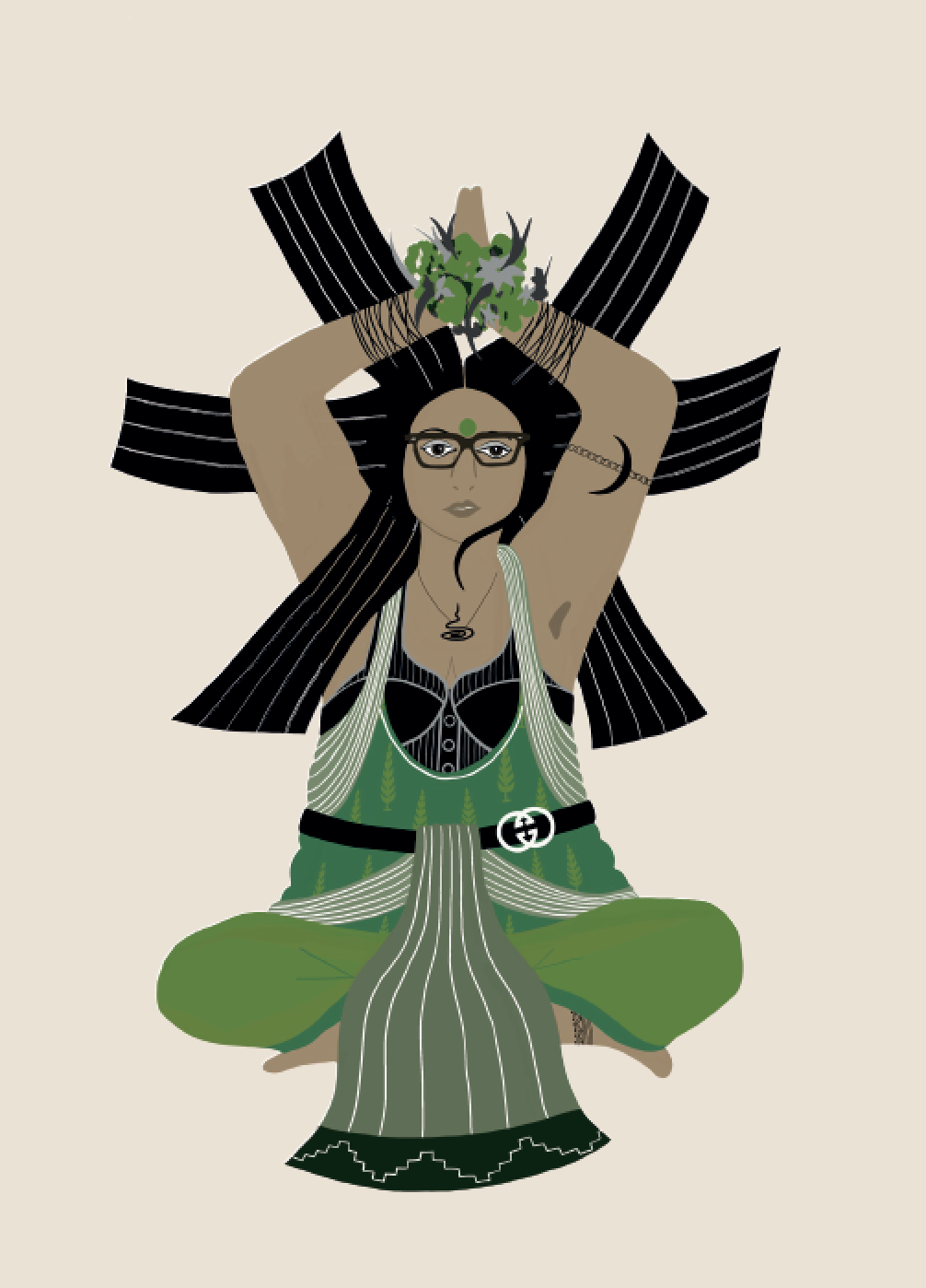 2019. Sukh ā sana (Easy Pose) Digital print on paper 5 in. x 7 in.  Practiced wearing a Tree-of-Life embroidered undershirt over a corset, a lungi and dupatta cinched at the waist, horn-rimmed eyeglasses, and a balsamic moon bajuband.   Purchase