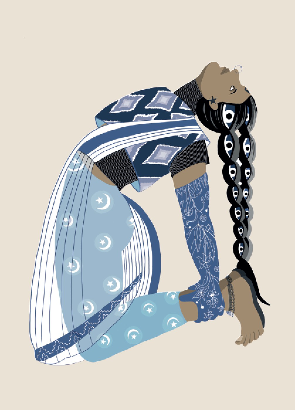 2019. Ustr ā sana (Camel Pose) Digital print on paper 5 in. x 7 in.  Practiced wearing moon and stars tights, a quilted Ikat sleeveless pullover layered on a turtleneck, single-tone Kashmiri floral gloves, and a delicate sheer cotton handloom sari.   Purchase