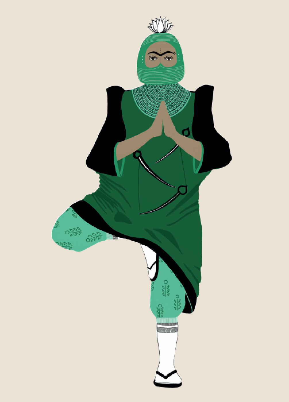 2019.  Vṛkṣāsana (Tree Pose)  Digital print on paper 5 in. x 7 in.  Practiced wearing a custom-designed helmet, Filipiñana butterfly sleeve abaya, block-printed track pants, a triple sword necklace, and chappels.   Purchase