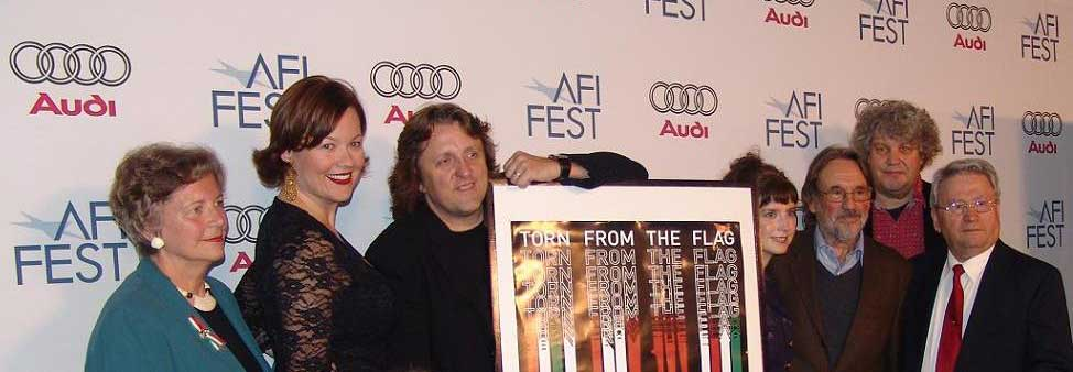 """At the AFI Premiere of  Torn from the Flag  with Oscar-winner Vilmos Zsigmond (3rd from the R) and Jeff """"The Dude"""" Dowd (2nd from the R)"""