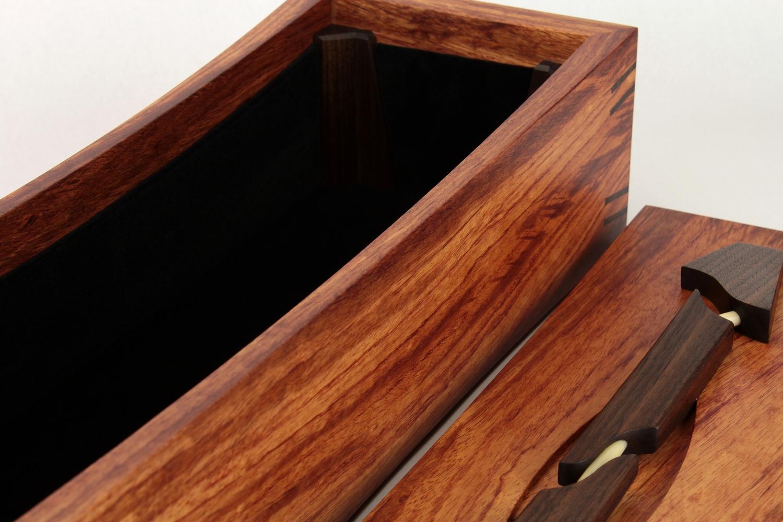 bubinga dagger box with black velvet interior