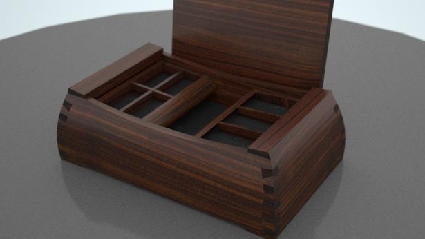 3D computer model of a 5th wedding anniversary box
